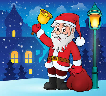 street lamps: Santa Claus with bell theme image - vector illustration. Illustration