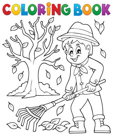 seasonal clothes: Coloring book gardener and tree - vector illustration. Illustration