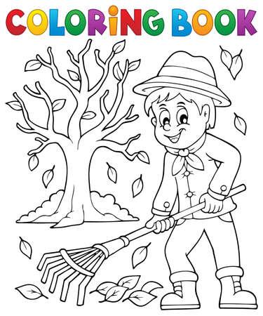 Kolorowanka ogrodnika i drzewa - ilustracji wektorowych.