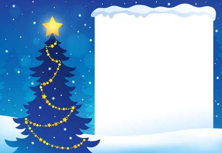 christmas tree illustration: Frame with Christmas tree - vector illustration.