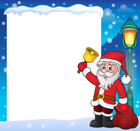 glove: Santa Claus with bell theme frame - vector illustration.