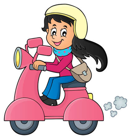 motorcycle girl: Girl on motor scooter theme image - vector illustration.  Illustration