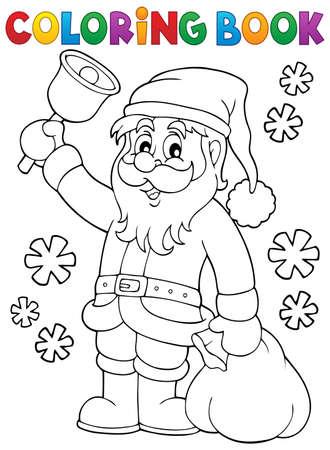 Coloring book Santa Claus with bell - vector illustration. Ilustração