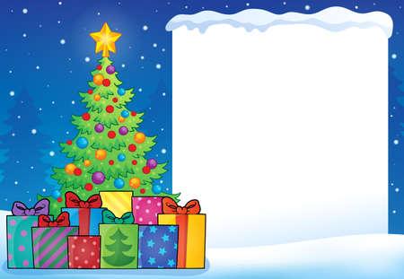 christmas tree illustration: Frame with Christmas tree topic - vector illustration.
