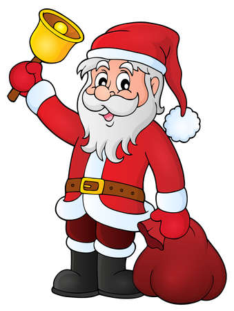 Santa Claus with bell theme - vector illustration.