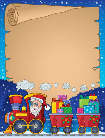 christmas train: Parchment with Christmas train theme - vector illustration.