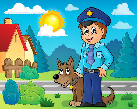 guarding: Policeman with guard dog image - vector illustration.