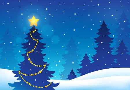 Christmas tree silhouette - vector illustration.