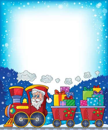 Frame with Christmas train theme - vector illustration. Illustration