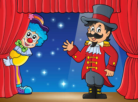 Stage with ringmaster and lurking clown - vector illustration.