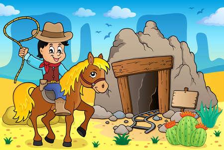 neckscarf: Cowboy on horse theme image - vector illustration.