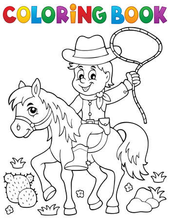 Coloring book cowboy on horse theme - vector illustration.