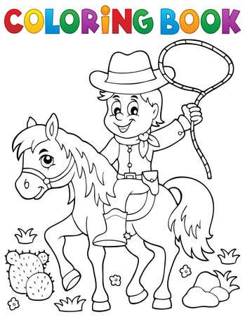 Libro da colorare cowboy a tema cavallo - illustrazione vettoriale. Archivio Fotografico - 47427919