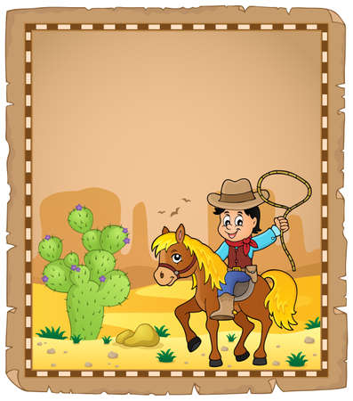 neckscarf: Parchment with cowboy on horse theme - vector illustration.