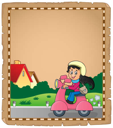 motor scooter: Parchment with girl on motor scooter - vector illustration. Illustration