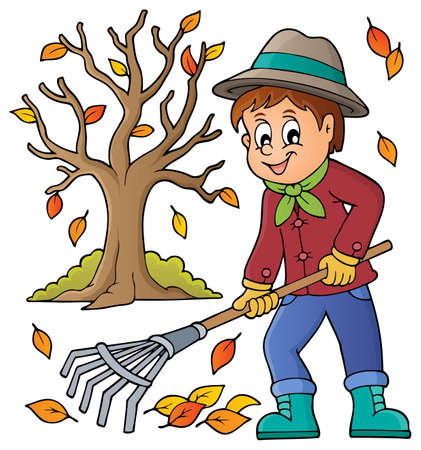 Image with gardener theme - vector illustration. Vettoriali