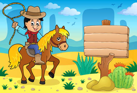 drawing board: Cowboy on horse theme - vector illustration.