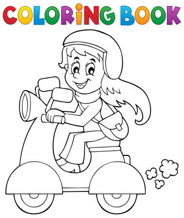 motor scooter: Coloring book girl on motor scooter - vector illustration.