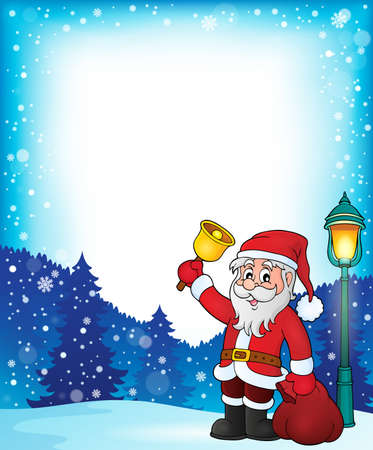 sacks: Santa Claus with bell theme frame - vector illustration.