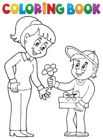 Coloring book Mothers Day theme 2 - eps10 vector illustration.