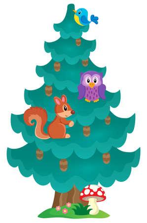 coniferous tree: Coniferous tree theme image 2 - eps10 vector illustration. Illustration