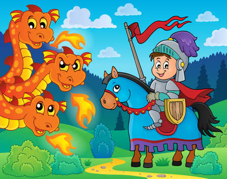 chivalry: Knight on horse and lurking dragon - eps10 vector illustration.