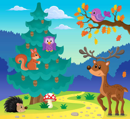 coniferous: Coniferous tree theme image 3 - eps10 vector illustration.