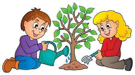 sembrando un arbol: Kids imagen Tema 1 árbol plantando - ilustración vectorial eps10. Vectores
