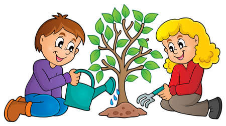 watering of plants: Kids planting tree theme image 1 - eps10 vector illustration.