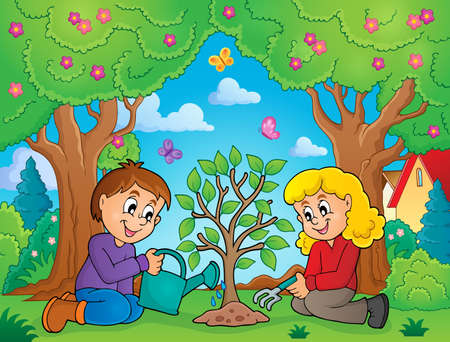 planting: Kids planting tree theme image 2 - eps10 vector illustration.