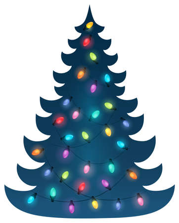 Kerst boom silhouet onderwerp 6 - eps10 vector illustratie.