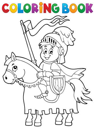 Coloring book knight on horse theme 1 - eps10 vector illustration. Vectores