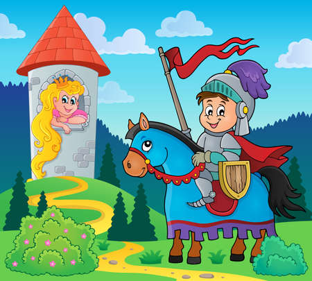 Fairy tale theme knight and princess - eps10 vector illustration. Vector Illustration