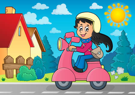 motor scooter: Girl on motor scooter theme image 3 - eps10 vector illustration. Illustration