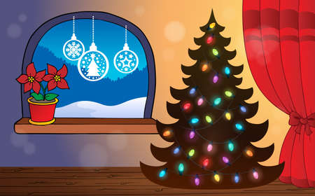 옥내의: Christmas indoor topic 4 - eps10 vector illustration.