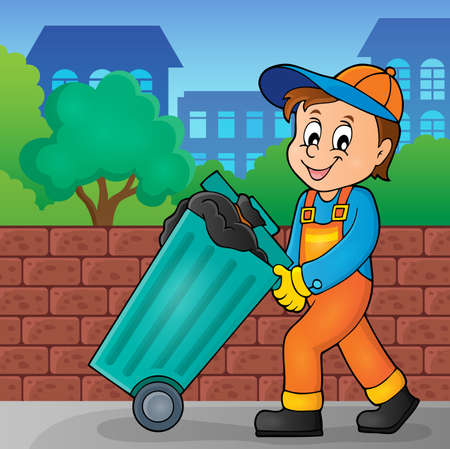 recolector de basura: Garbage collector theme image 2 - eps10 vector illustration.