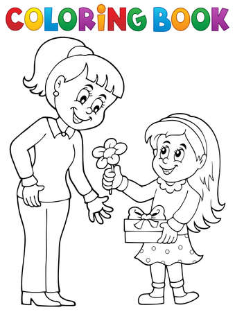 Coloring book Mothers Day theme 1 - eps10 vector illustration.