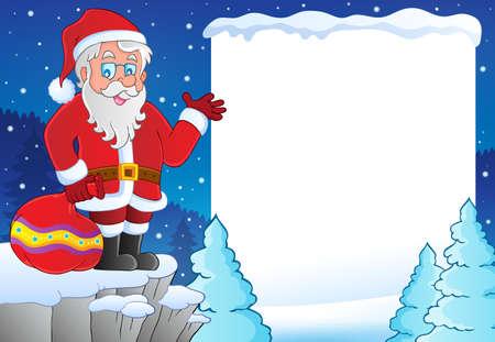 kârlı: Snowy frame with Santa Claus theme 1 - eps10 vector illustration. Çizim