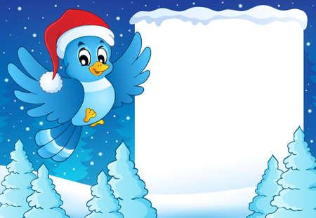 oiseau dessin: Cadre avec oiseau dans le chapeau de Noël - eps10 illustration vectorielle. Illustration