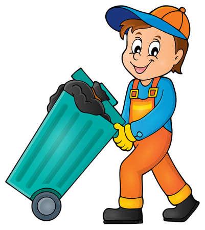 Garbage collector immagine Tema 1 - illustrazione vettoriale eps10.