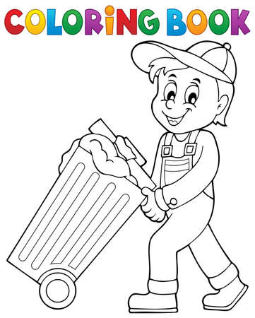 recolector de basura: Coloring book garbage collector theme 1 - eps10 vector illustration. Vectores