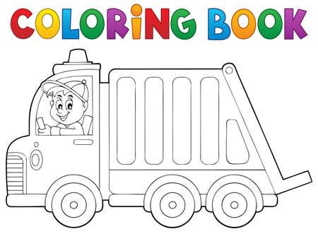 basura: Libro para colorear camión de recogida de basura - ilustración vectorial.