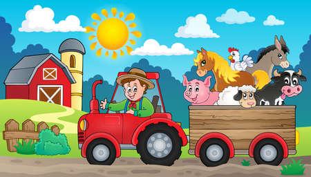 animales de granja: Imagen del tema del tractor 3 - ilustración vectorial. Vectores