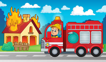 burning: Fire truck theme image 5 -   vector illustration.