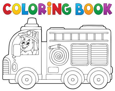 Colorear tema del camión libro de fuego 2 - ilustración vectorial.