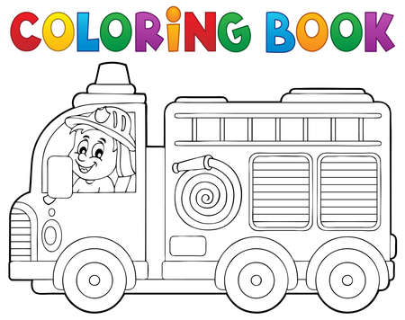 Coloring book fire truck theme 2 -   vector illustration.