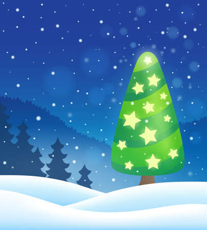 festive occasions: Stylized Christmas tree topic image  -   vector illustration.