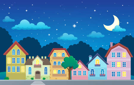 Stylized town at night   vector illustration.