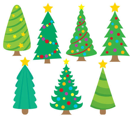 christmas trees: Stylized Christmas trees collection  vector illustration.