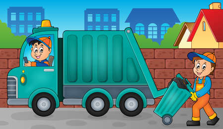 Garbage collector theme image     vector illustration. Ilustracja